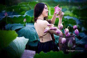 Bộ ảnh chụp bên sen đẹp tới mê hồn của nữ sinh tài sắc trường Nguyễn Bỉnh Khiêm