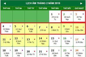 Tết Nguyên đán 2019 được nghỉ bao nhiêu ngày?