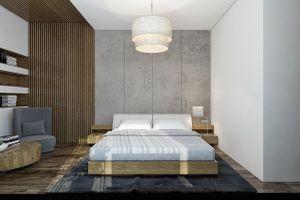 Phòng ngủ ấn tượng với tường bê tông