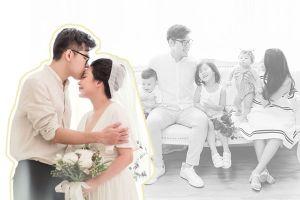 Nhà văn Gào bất ngờ khoe bộ ảnh cưới siêu hạnh phúc cùng chồng và 3 em bé