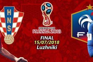 Lịch thi đấu World Cup 15/7: Pháp - Croatia trận đấu cuối cùng
