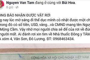 Bác sĩ nhặt được ví tiền đăng lên facebook tìm người đánh rơi