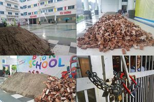 Trước khai giảng, trường học kêu cứu Chủ tịch UBND TP Hà Nội vì bị đổ ngập cát, gạch
