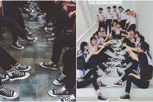 Khoe áo lớp xưa rồi, bây giờ trường người ta đã nâng tầm giày hiệu thế này cơ!