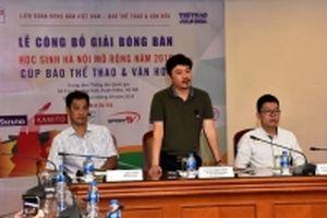 Hơn 200 tay vợt dự giải bóng bàn học sinh Hà Nội mở rộng