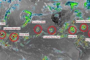9 cơn bão cùng hoành hành Trái Đất: Siêu bão mạnh nhất sẽ ảnh hưởng tới Việt Nam