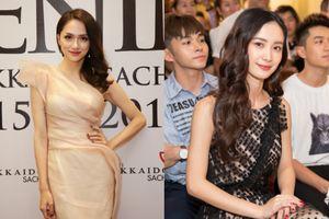 Hoa hậu Hương Giang xinh như đóa hồng đọ sắc cùng Jun Vũ ở sự kiện
