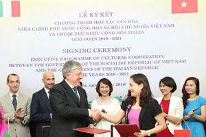 Ký kết Chương trình hợp tác văn hóa Việt Nam - Italia giai đoạn 2018- 2021