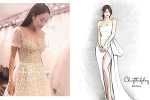 Hé lộ váy cưới khoe vai trần và chân dài gợi cảm của Nhã Phương
