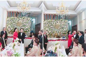 Nhã Phương diện áo dài đỏ, lộ rõ bụng bầu trong lễ thành hôn