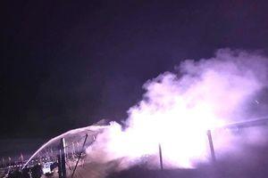 Tàu cá bị lửa thiêu rụi khi đang neo đậu