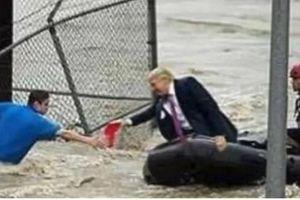 Thực hư bức ảnh Tổng thống Trump đi xuồng máy cứu hộ nạn nhân siêu bão Florence