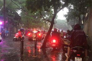 Hà Nội: Mưa to vào giờ cao điểm gây ngập úng một số tuyến phố nội thành