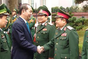 Chủ tịch nước Trần Đại Quang với cán bộ, chiến sĩ Quân đội nhân dân Việt Nam
