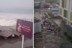 Sóng thần 3m tràn vào thành phố Indonesia sau động đất 7,5 độ