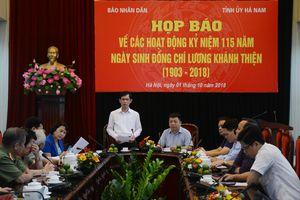 Họp báo giới thiệu hoạt động kỷ niệm 115 năm Ngày sinh đồng chí Lương Khánh Thiện (1903-2018)
