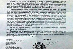 Trưởng phòng Giáo dục huyện Xuyên Mộc bị kỷ luật khiển trách