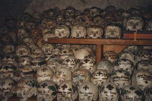 Cận cảnh hàng trăm hộp sọ được tô vẽ độc đáo ở ngôi làng nước Áo