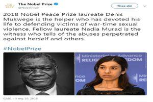 Nobel Hòa bình xướng tên hai nhà hoạt động chống bạo lực tình dục