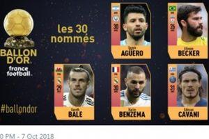 CHÍNH THỨC: Lộ diện 5 ứng viên đầu tiên cho Ballon d'Or 2018