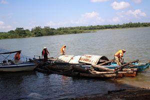 Bắt một thuyền vận chuyển gỗ lậu trên sông Thu Bồn