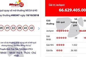 Kết quả xổ số Vietlott ngày 10/10: Vé trúng Jackpot hơn 66,6 tỷ đồng 'nổ' ở Quảng Ninh
