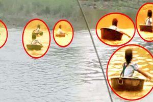Thót tim cảnh học sinh Ấn Độ đánh đu thần chết dùng chậu nhỏ vượt sông đi học