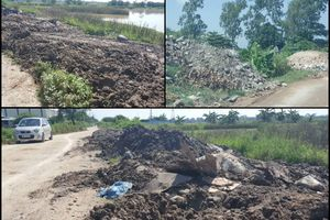 Nhức nhối tình trạng đổ trộm bùn, phế thải trên đất dự án ở phường Đồng Mai