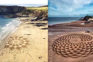 Những bức tranh cát bí ẩn trên bãi biển của Anh