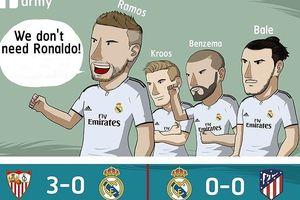 Biếm họa 24h: 'Mạnh miệng' không cần Ronaldo, Real thua méo mặt
