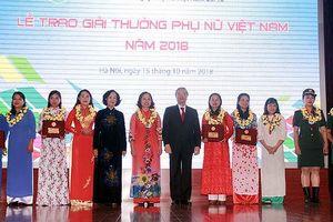 5 tập thể, 10 cá nhân nhận Giải thưởng Phụ nữ Việt Nam năm 2018