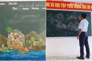 Loạt ảnh chiếc bảng lớp học được thầy giáo hô biến thành tác phẩm tranh phong thủy đẹp đến nỗi khiến học sinh muốn 'rụng tim'