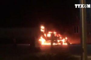 Điều tra nguyên nhân xe container bốc cháy tại Quảng Ninh
