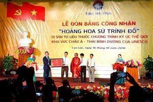 Hà Tĩnh: Đón bằng di sản tư liệu ký ức thế giới 'Hoàng hoa sứ trình đồ'