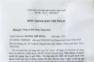Nguyên Chánh Văn phòng Đoàn ĐBQH Thừa Thiên Huế bị đe dọa, tống tiền