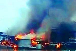Cháy tàu chở dầu trên sông Tiền, một người tử vong