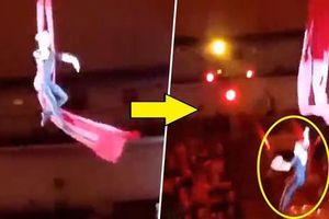 Khán giả la hét khi nữ nghệ sĩ xiếc ngã từ độ cao 4,5m