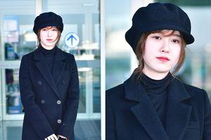 'Hoa ghen thua thắm' trước vẻ ngoài mũm mĩm, xinh xắn của Goo Hye Sun ở sân bay
