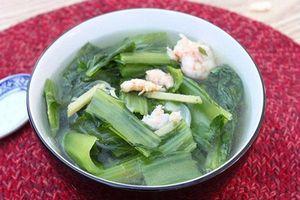 Canh cải bó xôi nấu tôm - món ngon mỗi ngày tốt cho người mắc bệnh tuyến giáp