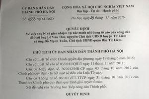 Vì sao lãnh đạo TP Hà Nội chưa kết luận nội dung tố cáo?