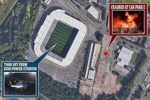 Hiện trường trực thăng của chủ tịch Leicester City rơi ngoài sân vận động