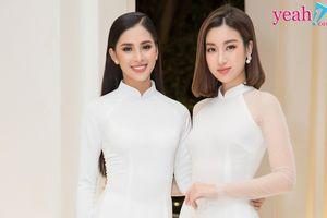 Hoa hậu Tiểu Vy và Đỗ Mỹ Linh đọ sắc trong tà áo dài duyên dáng khi lần đầu xuất hiện chung tại sự kiện
