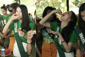 Hoa hậu Trái Đất gây tranh cãi với cảnh để thí sinh ăn bốc nhếch nhác