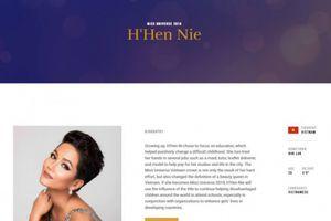 Hình ảnh H'hen Niê chính thức xuất hiện trên trang chủ Hoa hậu Hoàn vũ