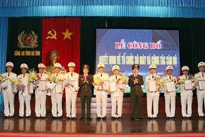 Công an tỉnh Hà Tĩnh công bố Quyết định về tổ chức bộ máy và công tác cán bộ