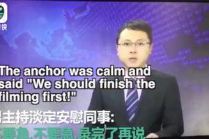 Động đất rung chuyển trường quay, biên tập viên vẫn bình thản ghi hình