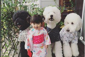 Chùm ảnh em bé Nhật và chú chó cưng siêu dễ thương