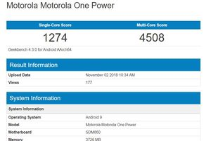 Điện thoại Motorola One Power chạy Android 9 Pie phát hiện trên Geekbench