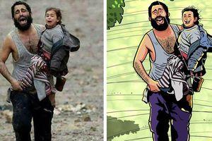 Họa sĩ Bangladesh vẽ lại cái kết hạnh phúc cho những bức ảnh hiện thực đau thương