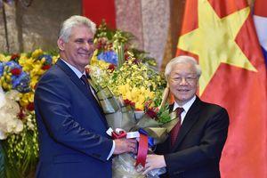 Chùm ảnh: Tổng Bí thư, Chủ tịch nước Nguyễn Phú Trọng đón Chủ tịch HĐNN, HĐBT Cuba
